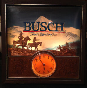 Vintage 70s Busch lighted sign with clock