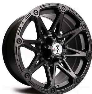 *** 4  NEW CHEVY/GMC /TACOMA  6X139.7  MATTE BLACK WHEELS