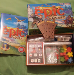 Board Games: Tiny Epic Quest, Adventure Time Munchkin, Qwirkle