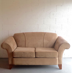 Suede Olive/Tan Loveseat and Sofa
