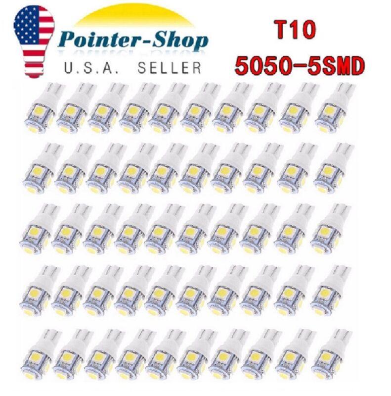 Led - 50x Super White T10 Wedge 5-SMD LED Interior Light bulbs 5050 W5W 194 168 2825