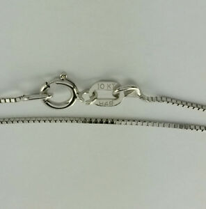 10K Solid White Gold Box chain necklace 22 inch