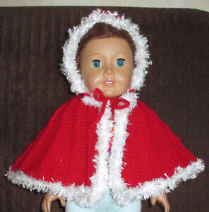BRAND NEW! HAND KNIT AMERICAN GIRL RED CAPE