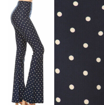 Navy Polka Dot Flared Leg Stretch Leggings Pants Soft Knit Long High Waist Yoga  (Navy Stretch Pants)