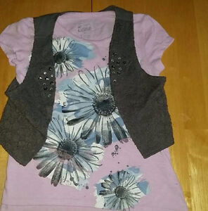 Justice Girls T-Shirt With Detachable Vest.. Size 7....