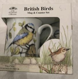 British Birds Fine China Mug and Coaster Set