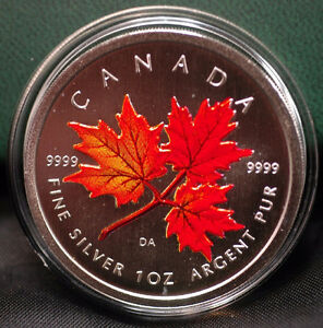 2001-2006 Coloured 1 oz Silver Maple Leaf Collector RCM Coins Edmonton Edmonton Area image 2