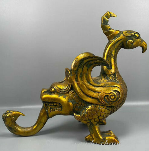 "12"" Antique Chinese Bronze Gilt Dynasty Animal Phoenix Birds Beast Zun Statue"
