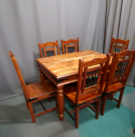 Solid wood dining table with 6 chairs - Jali Sheesham