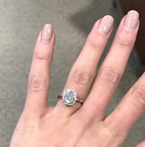 1.97 Carat Cushion Cut Engagement Ring - Appraised over $28K
