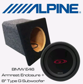 """ALPINE 8"""" SUBWOOFERS AND BOX"""