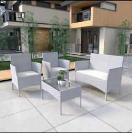 4 Piece Rattan Garden Furniture Set