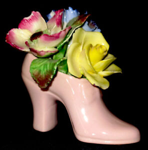 Miniature China Shoes with Floral Trim