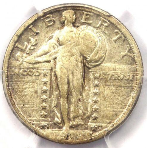 1918/7-S Standing Liberty Quarter 25C Coin - PCGS VF Details - Rare Overdate!