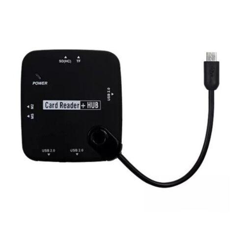 3 Port OTG USB Hub + Card Reader For Micro USB Cellphone Samsung Tablet Black US