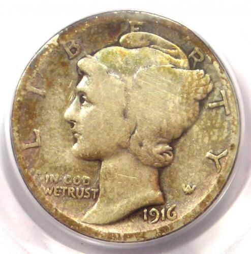 1916-D Mercury Dime 10C Coin - Certified PCGS G6 (Good) - Rare Key Date Coin!
