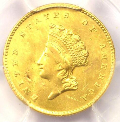 """1855-O Type 2 Indian Gold Dollar (G$1 Coin) - PCGS AU Details - Rare """"O"""" Mint!"""