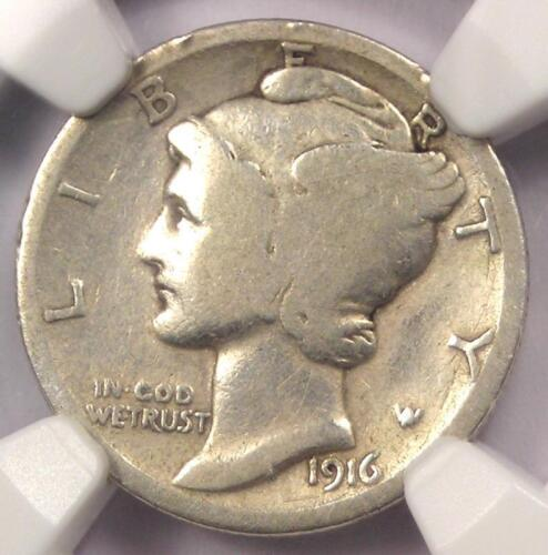1916-D Mercury Dime 10C Coin - Certified NGC VG Details - Rare Key Date Coin!