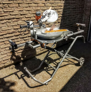 RIGID 12 in sliding dual bevel miter saw with gravity stand