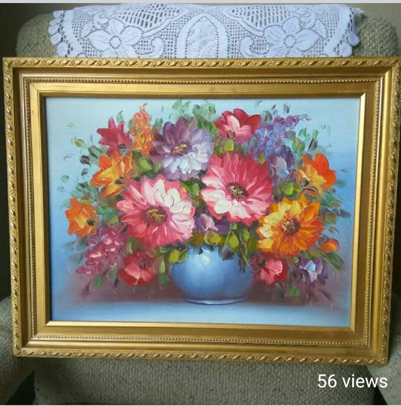 Flower Vase Oil Painting On Canvas Arts Collectibles City Of