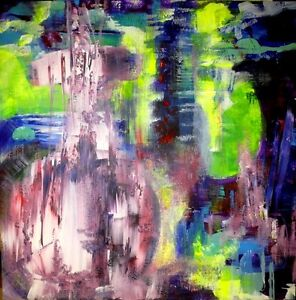 LARGE ABSTRACT PAINTING COLOURFUL NEW Green Blue Original Art
