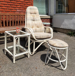 3 Morceaux Osier Rattan Bamboo: Chaise, Repose Pieds et Table