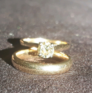 1/2 CT Diamond, 14K Gold solitaire engagement ring and band