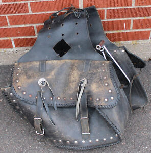 Worn Leather Saddle Bags with Brackets