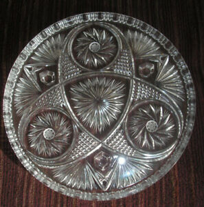 Vintage 13 inch Round Footed Pinwheel Crystal Platter - Maples
