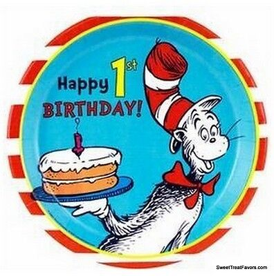 Cat in the Hat Dr Seuss Party PLATES LUNCH 1st First Birthday Supplies 8PC - Cats In Party Hats