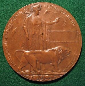 WWI Memorial Plaque Dead Mans Penny WANTED