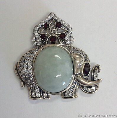 Estate Jewelry Green Jadeite Elephant Pendant Sterling Silver 1 1/2