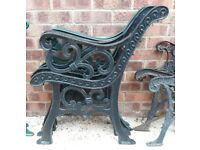 Pair Of Full Size Black Cast Iron Garden Bench Ends With Fleur-De-Lis Design