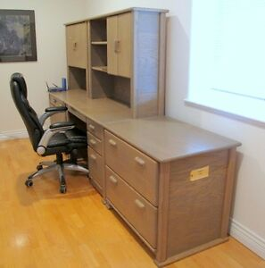 Five Section Oak 0ffice Furniture and Chair- Fair to Good Condit
