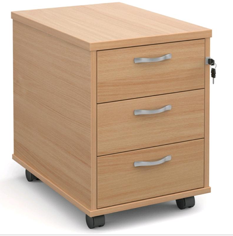 Office 3 Drawer Pedestal Filing Cabinet Desk Storage Key
