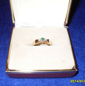 "Vintage - 10kt Yellow Gold ""Emerald"" and Diamond Engagement Ring"
