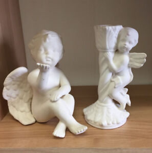 Lot of Two ANGEL CHERUB FIGURINE AND CANDLE HOLDER HOME DECOR