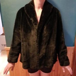 Women's Vintage Faux Fur Coat Black Cloud No.9