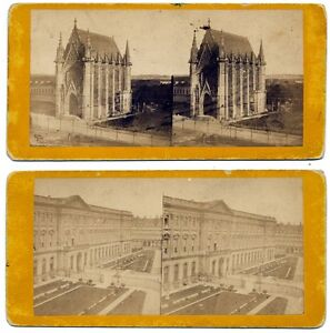 Lot two French Stereo cards Paris Louvre Fort de Vincennes Stereoviews 1860c