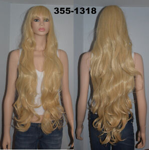 NEW: Deluxe 100cm Straight Wavy Blonde Cosplay Wig (355-1318)