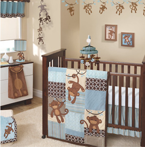 "Crib Bedding & Lamp Lambs & Ivy ""Giggles"" collection 7 Pieces"