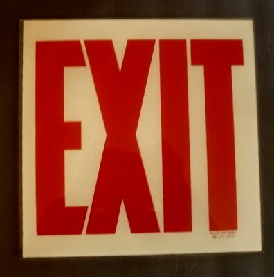 Vintage Exit Glass Sign 10 X10 Apprvd Nyc Bsa Cal 525 Sm70 Mib