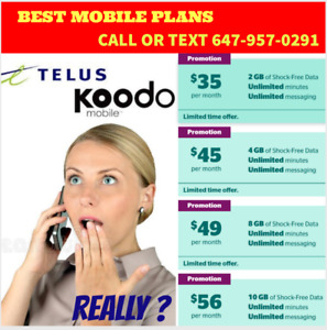 10GB $56/mo or 8GB $49/mo - KOODO/TELUS UNLIMITED PLANS