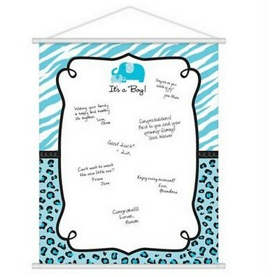 Blue Safari Baby Boy Shower Sign-In Sheet Hanging Scroll - (Baby Shower Scrolls)