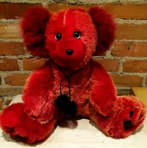 Hand Made Sunset Red Lamb Fur Teddy Bear with Red Fox Ears
