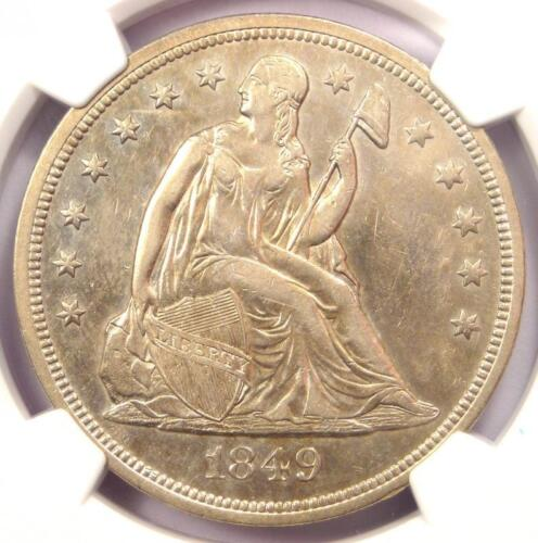 1849 Seated Liberty Silver Dollar $1 - NGC AU Details - Rare Early Date Coin!