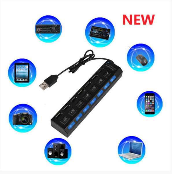 7 port USB2.0 hub with 7 switch, filter and USB silicone protector
