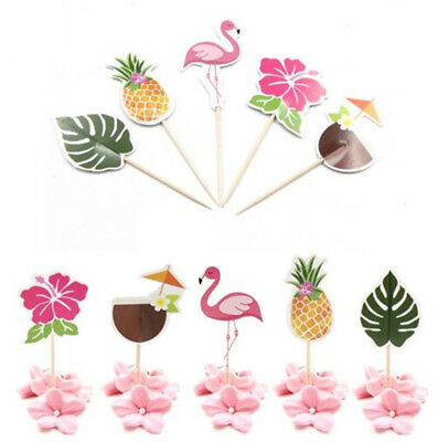24X Flamingo Party Cake Topper Birthday Decorations DIY Cupcake Topper Supplies
