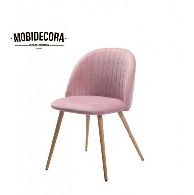 Silla de comedor, diseño, pata metal, tapizada terciopelo rosa