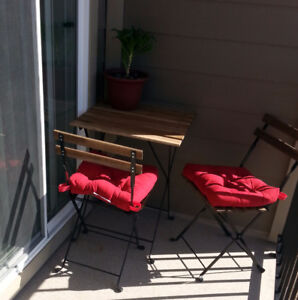 Outdoor table +2 chairs +2 seat pads